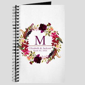 Boho Wreath Wedding Monogram Journal