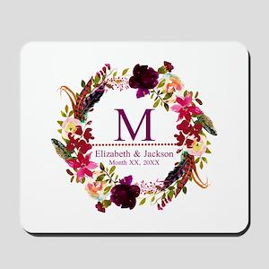 Boho Wreath Wedding Monogram Mousepad