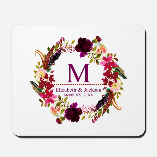 Boho Wreath Wedding Monogram Mousepad