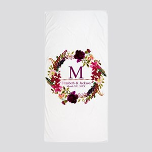 Boho Wreath Wedding Monogram Beach Towel
