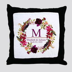 Boho Wreath Wedding Monogram Throw Pillow