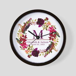 Boho Wreath Wedding Monogram Wall Clock