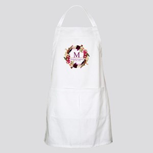 Boho Wreath Wedding Monogram Light Apron