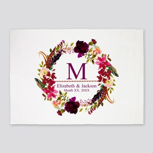 Boho Wreath Wedding Monogram 5'x7'Area Rug