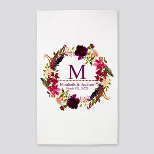 Boho Wreath Wedding Monogram Area Rug