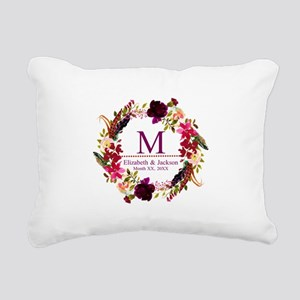 Boho Wreath Wedding Monogram Rectangular Canvas Pi
