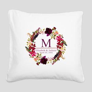 Boho Wreath Wedding Monogram Square Canvas Pillow