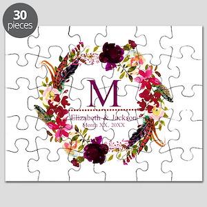 Boho Wreath Wedding Monogram Puzzle