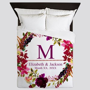 Boho Wreath Wedding Monogram Queen Duvet