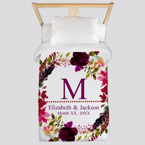 Boho Wreath Wedding Monogram Twin Duvet Cover