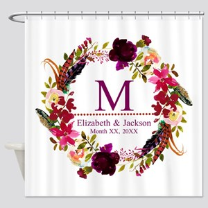 Boho Wreath Wedding Monogram Shower Curtain