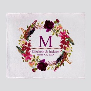 Boho Wreath Wedding Monogram Throw Blanket