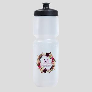 Boho Wreath Wedding Monogram Sports Bottle