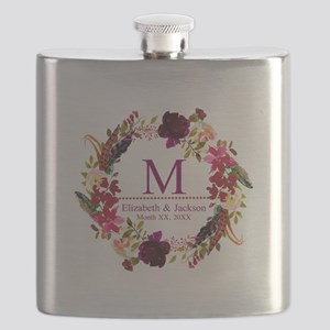 Boho Wreath Wedding Monogram Flask