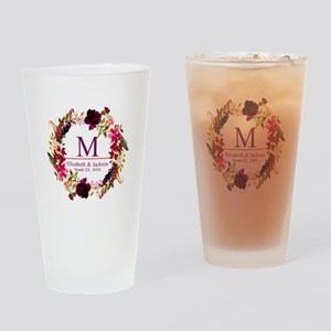 Boho Wreath Wedding Monogram Drinking Glass