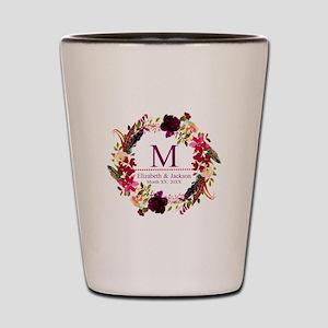 Boho Wreath Wedding Monogram Shot Glass