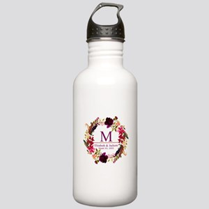 Boho Wreath Wedding Monogram Water Bottle
