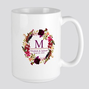 Boho Wreath Wedding Monogram Mugs