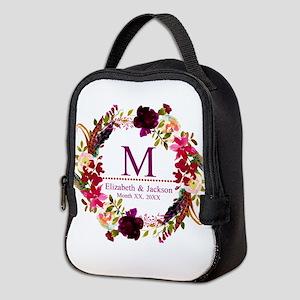 Boho Wreath Wedding Monogram Neoprene Lunch Bag