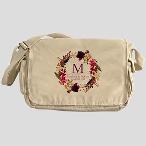 Boho Wreath Wedding Monogram Messenger Bag