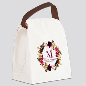 Boho Wreath Wedding Monogram Canvas Lunch Bag