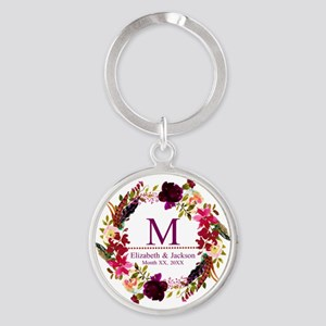Boho Wreath Wedding Monogram Keychains