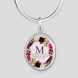 Boho Wreath Wedding Monogram Necklaces