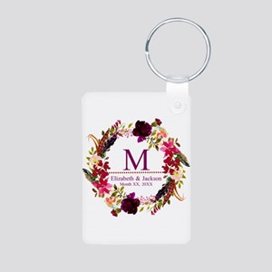 Boho Wreath Wedding Monogram Keychains