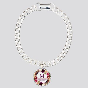 Boho Wreath Wedding Monogram Bracelet
