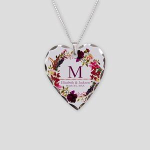 Boho Wreath Wedding Monogram Necklace