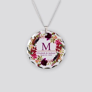 Boho Wreath Wedding Monogram Necklace