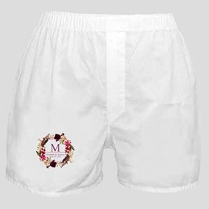 Boho Wreath Wedding Monogram Boxer Shorts