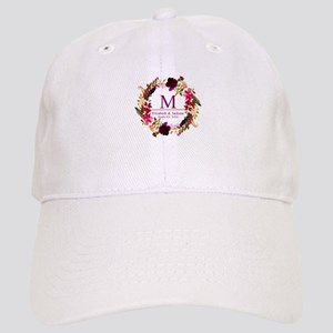 Boho Wreath Wedding Monogram Baseball Cap