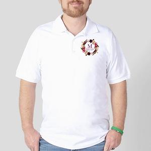 Boho Wreath Wedding Monogram Golf Shirt