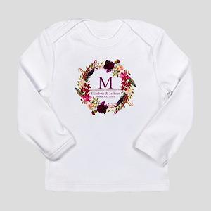 Boho Wreath Wedding Monogram Long Sleeve T-Shirt