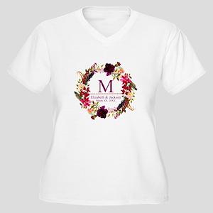 Boho Wreath Wedding Monogram Plus Size T-Shirt