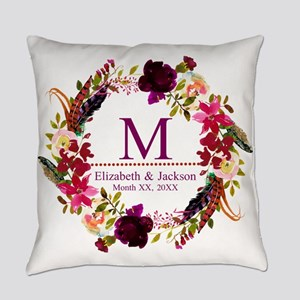 Boho Wreath Wedding Monogram Everyday Pillow