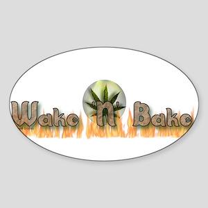"""""""Wake N Bake"""" Oval Sticker"""