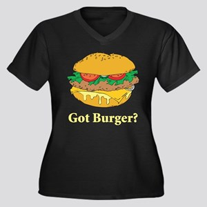 Got Burger Women's Plus Size V-Neck Dark T-Shirt