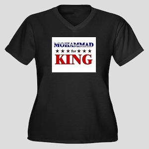 MOHAMMAD for king Women's Plus Size V-Neck Dark T-