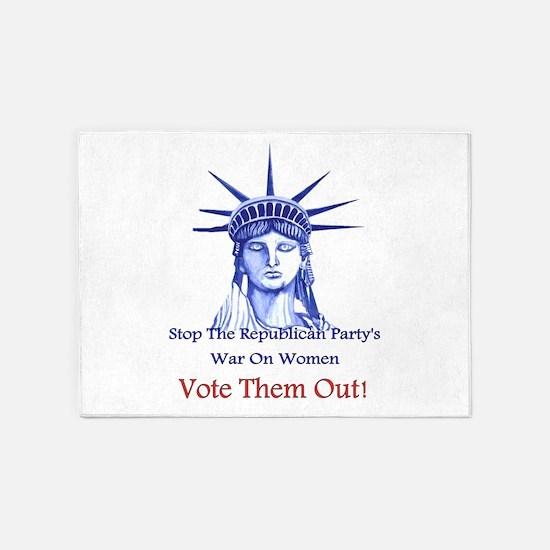 Stop Republican's War On Women 5'x7'Area Rug