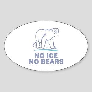 Polar Bears & Climate Change Oval Sticker