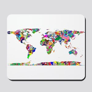 Rainbow Paint Splatter World Map Mousepad
