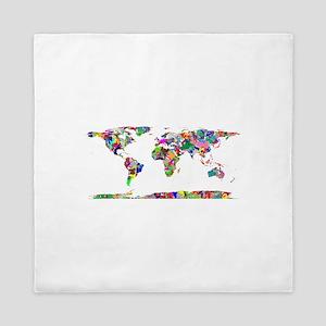 Rainbow Paint Splatter World Map Queen Duvet