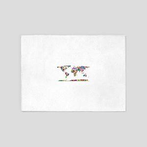 Rainbow Paint Splatter World Map 5'x7'Area Rug