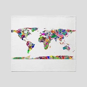 Rainbow Paint Splatter World Map Throw Blanket