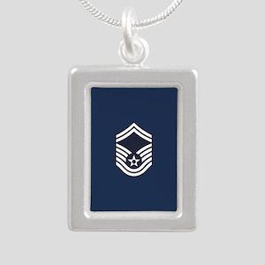 USAF: SMSgt E-8 (Blue) Silver Portrait Necklace