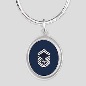 USAF: SMSgt E-8 (Blue) Silver Oval Necklace
