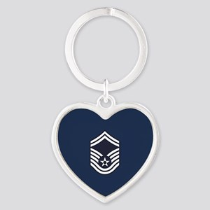 USAF: SMSgt E-8 (Blue) Heart Keychain