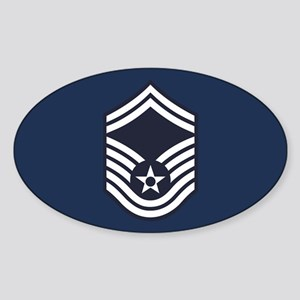 USAF: SMSgt E-8 (Blue) Sticker (Oval)